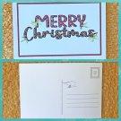 Merry Christmas Red Black Buffalo Plaid Printed Holiday Postcard