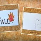 Fall Maple Leaf Word Art Holiday Season Printed Greeting Postcard