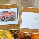 Happy Harvest Red Truck Fall Holiday Season Printed Greeting Postcard