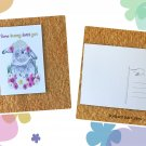 Floral Rabbit Some Bunny Loves You Printed Message Postcard