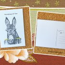 Fence Post Donkey Thinking of You Printed Message Postcard