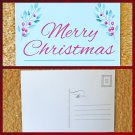 Merry Christmas with Holly Branches Holiday Season Printed Greeting Postcard