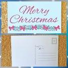 Merry Christmas with Floral Bows Holiday Season Printed Greeting Postcard