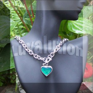 Heart Mood Pendant Toggle Thick Chain Necklace Color Changing Chart
