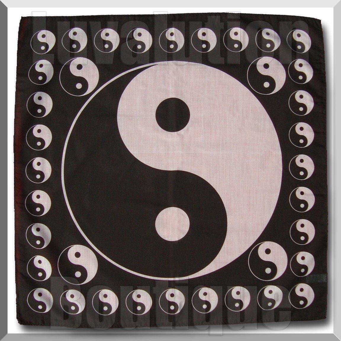 """Yin-Yang Bandana Hat Scarf Taoism Daoist Taoist Tao Large 22"""" Yin And Yang"""