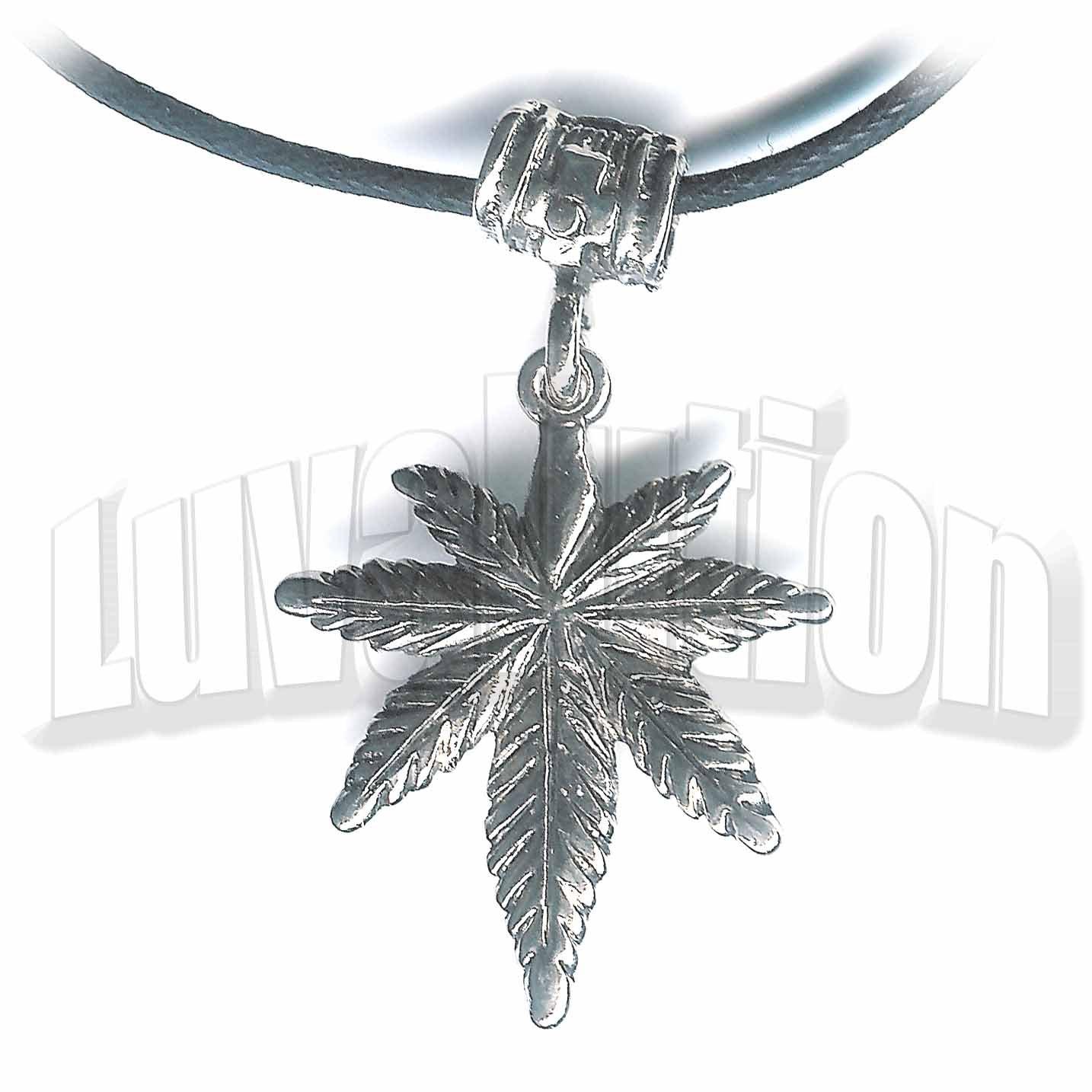 Dangling Cannabis Pot Leaf Pendant Necklace Choker 420 Marijuana Weed Kushempeng
