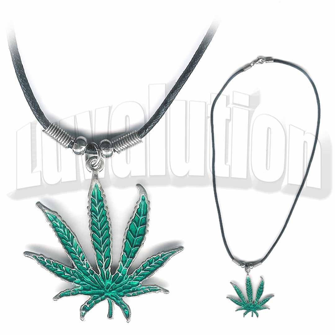 Cannabis Sativa Pot Leaf Pendant Necklace Choker 420 Marijuana Weed Kushempeng Ganja Sensi