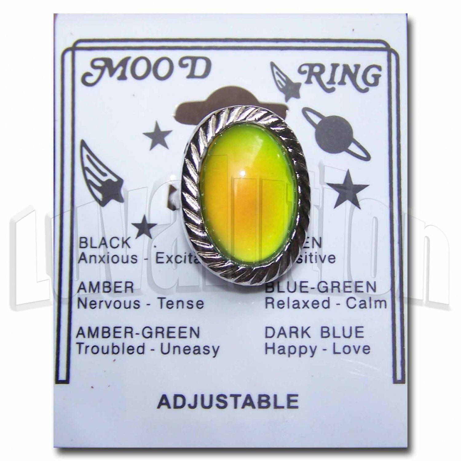 Adjustable Twisted Roll Chunky Mood Ring Cocktail Retro Hippie Chic Carded Color Change Chart