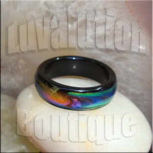 Black Agate Mood Ring Band Size 8 Color Changing Genuine Gemstone Jewelry Gift Box