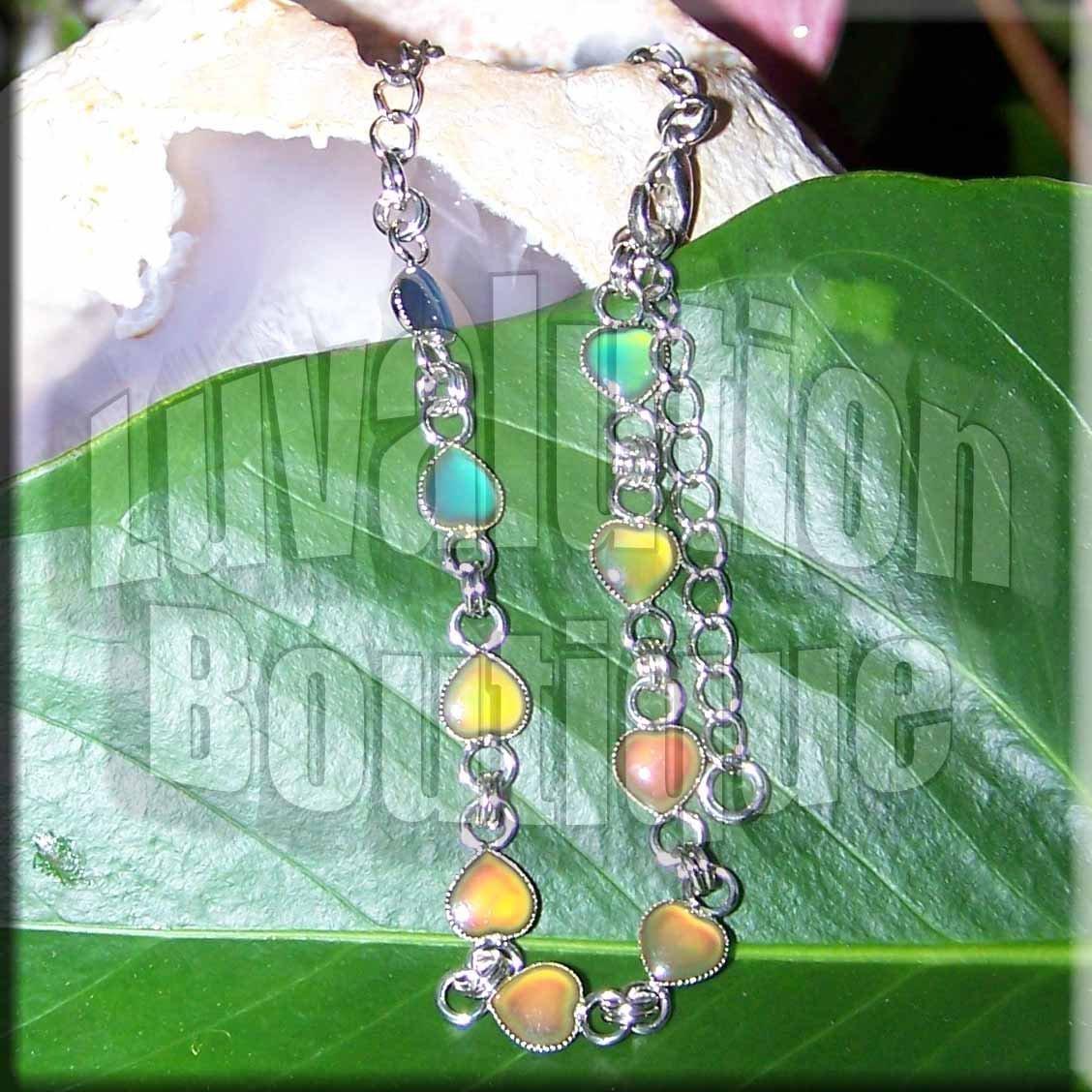 Mood Bracelet Heart Charms Link Chain Color Change Chart Retro Chic Fashion Adjustable