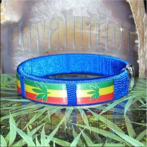 Blue Rasta Pot Leaf Bracelet Cuff Cannabis Marijuana 420 Weed Kush Adjustable