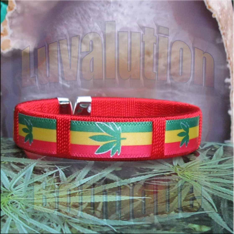 Red Rasta Pot Leaf Bracelet Cuff Cannabis Marijuana 420 Weed Kush Adjustable