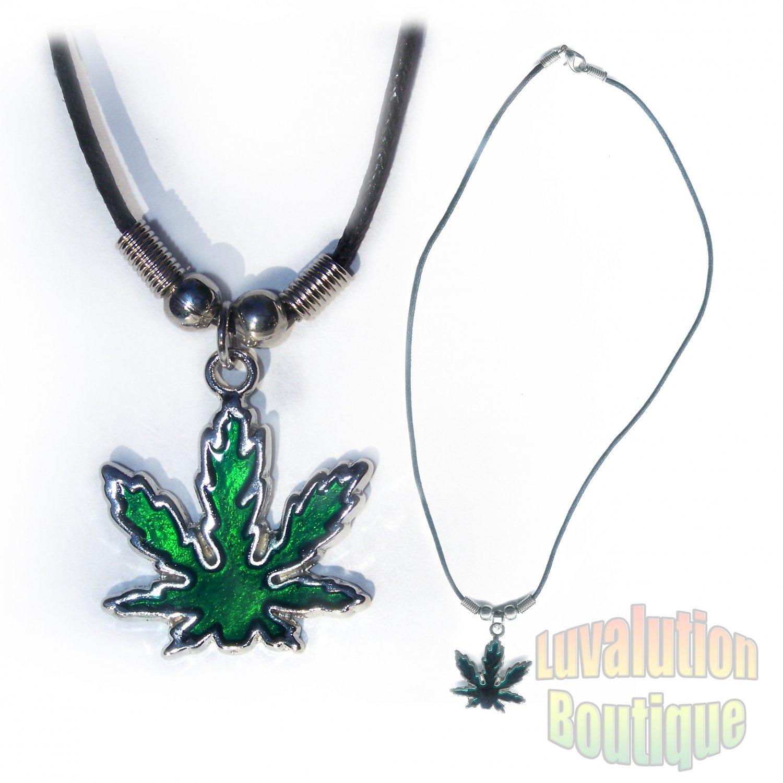 Cannabis Indica Pot Leaf Pendant Necklace Choker 420 Marijuana Weed Kushempeng