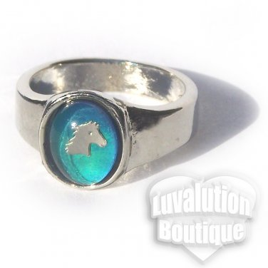 Horse Mood Ring Size 8 Retro Chic Vivid Color Changing Chart Equine Pony Western