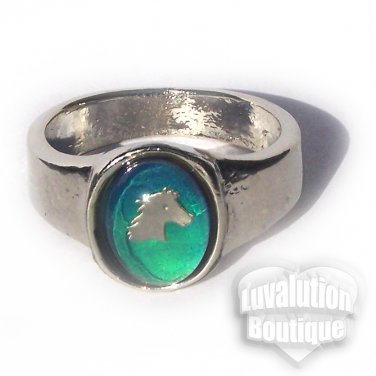 Horse Mood Ring Size 5 Retro Chic Vivid Color Changing Chart Equine Pony Western