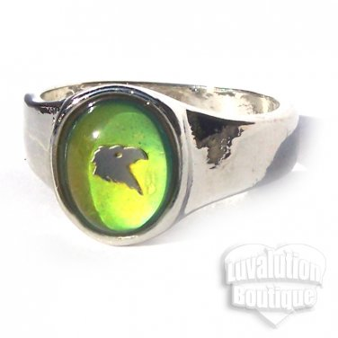 Eagle Head Mood Ring Size 6 Retro Chic Color Changing Chart Biker Goth Punk Rocker Patriotic