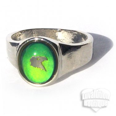 Eagle Head Mood Ring Size 7 Retro Chic Color Changing Chart Biker Goth Punk Rocker Patriotic
