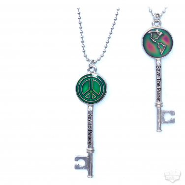 Key To Peace Save The Planet Bling Mood Necklace Color Changing Double-Sided Pendant 24 Inch Chain