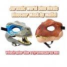Set of 2 Jurassic World Tyrannosaurus Rex Mask #FLY93 & Velociraptor Blue Mask #GVC81 by Mattel