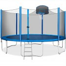 15FT Trampoline for Kids with Safety Enclosure Net, Basketball Hoop and Ladder
