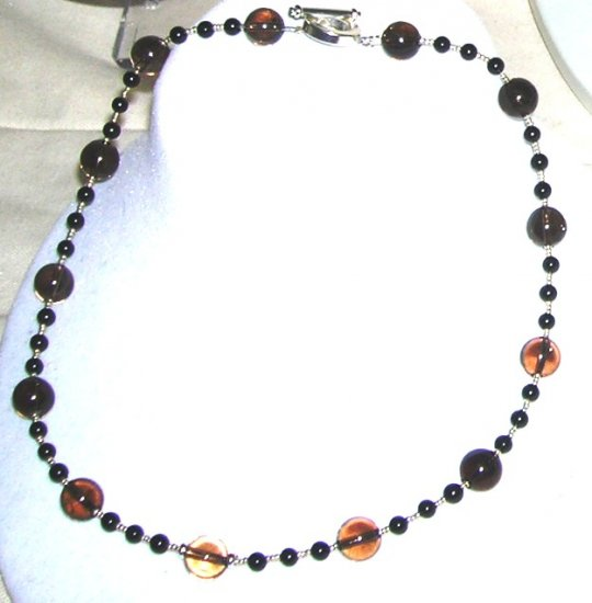 Black Onyx and Smoky Quarts Necklace