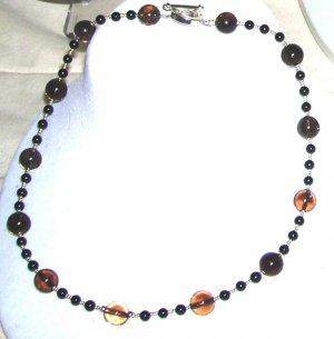 Black Onyx and Smoky Quarts Necklace