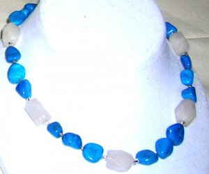 Turquoise Howalite and Rose quarts necklace