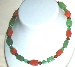 Peach and green Aventurin with crystals