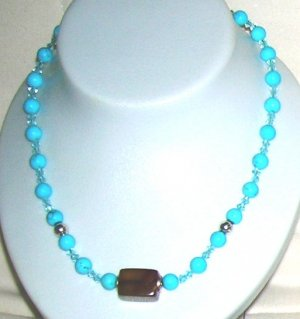 Turquoise with Brrown jade and silver balls