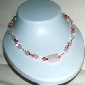 Rose and cherry quarts necklace.