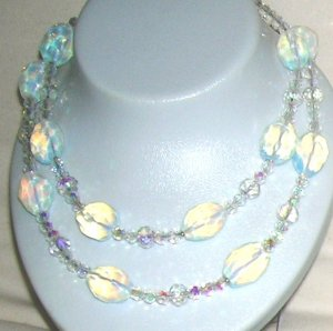 Opalit with Crystals- Double necklace