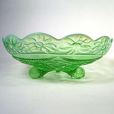 Northwood RUFFLES & RINGS Green & Blue Opalescent Glass Bowl