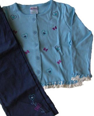 Blue Winter Cardigan Ruffle Top Pants Outfit Size 5 5T NEW