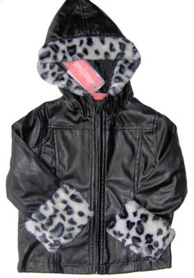 Girls Faux Leather Animal Print Fur Jacket Coat 18 Mos NEW