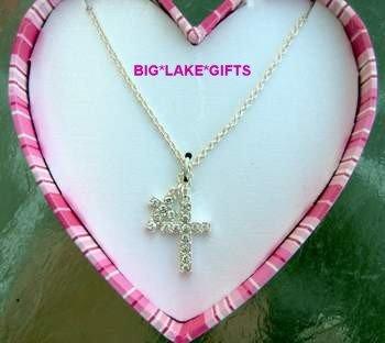JLO Double Rhinestone Crucifix Necklace NEW J LO