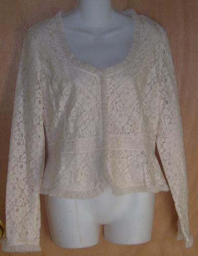 Tahari $498 Natural Lace Ruffled Top Size 12 NEW Shirt