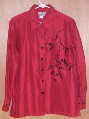 Coldwater Creek Asian Design Silk Top Size Medium M