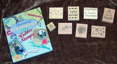 Scrapbook Mounted Rubber Stamps Lot w/ Idea Book NEW