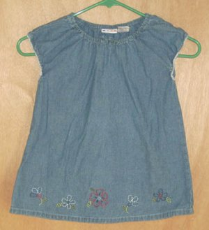 Gymboree Country Picnic Denim Embroidered Top Size 7 Shirt