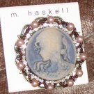 M. Haskell Intricate Beaded Blue Cameo NEW