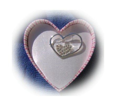 JLO J Lo Heart Brooch Pin w/ Clear Rhinestones NEW