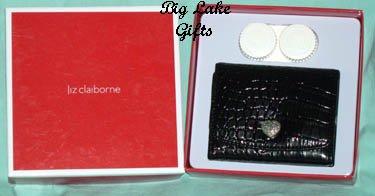 $20 Liz Claiborne Mirror Contact Lens Case Black NEW
