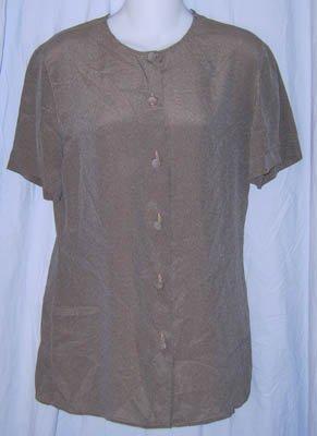Giorgio Armani Gray Silk Button Front Blouse Shirt Size 6 40