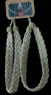 Seafoam Pastel Green Braided Curtain Tie-Backs NEW
