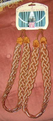 Copper Brown & White Braided Curtain Tie-Backs NEW