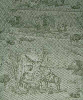 "Green Toile Fabric 63"" x 25"""