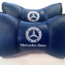 Headrest Cushion 2units Car Seat Pillow with Logo Mercedes-Benz PU Leather Bone-Shaped