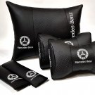One Set 5units Car Full Cover Pillow Genuine PU Leather Cushion Pad Logo Mercedes-Benz