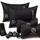 Set 8pcs PU Leather Comfortable Logo Mercedes-Benz Neck Orthopedic Back Seat Support Pillow Pad