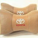 Leather Breathable 2units Neck Rest Headrest Support Cushion Pillow with Logo Toyota